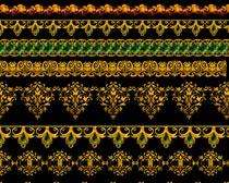 金色花纹花边设计PS分层素材