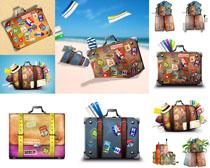 贴标签的行李包摄影高清图片