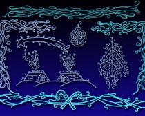 圣诞花纹花边PS笔刷素材