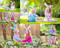 绿色草地儿童摄影高清图片