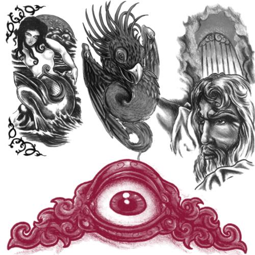 欧美神话图案刺青笔刷素材