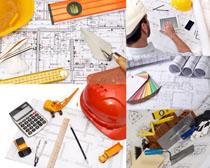 建筑工程图纸工具摄影高清图片