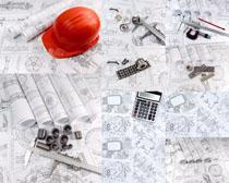 工程图纸工具拍摄高清图片