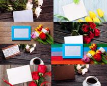 花朵与相框拍摄高清图片