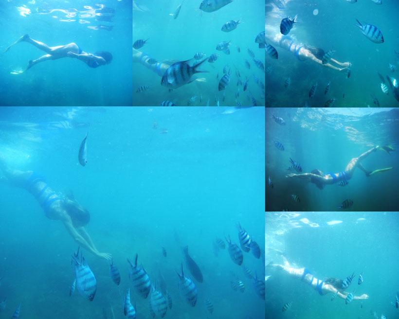 海底游泳女子摄影高清图片