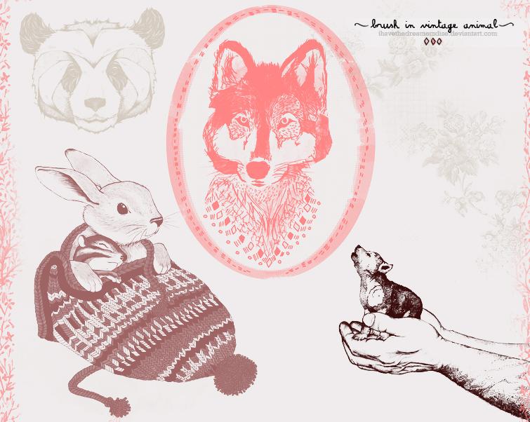 卡通动物图案笔刷素材