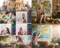 地球地图小女孩摄影高清图片