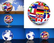 地球与国家旗帜摄影高清图片