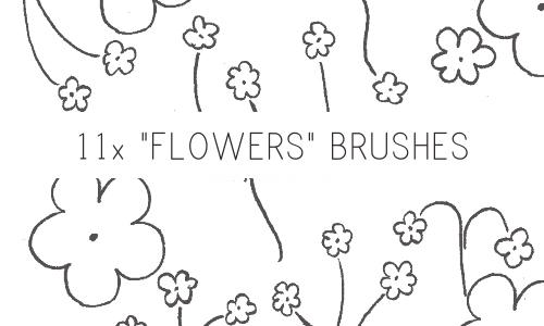 手绘小花朵笔刷素材