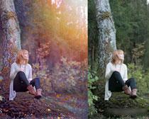 照片添加紫色逆光效果PSD图层
