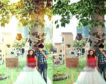 照片添加暖黄光效PSD图层