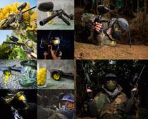 野戰部隊與武器攝影高清圖片