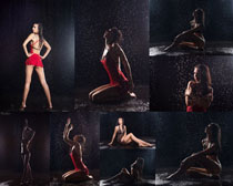 性感的雨中美女摄影高清图片