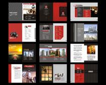 高档红色企业画册设计模板矢量素材