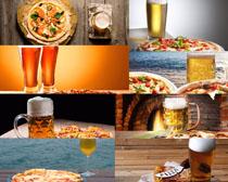 披萨与啤酒摄影高清图片