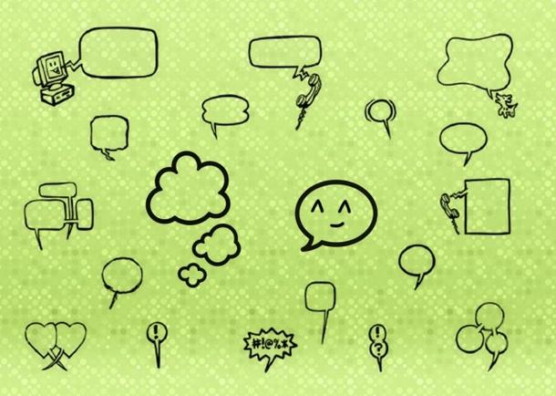 可爱的泡泡对话框笔刷素材