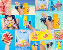 太阳眼镜橙汁摄影高清图片