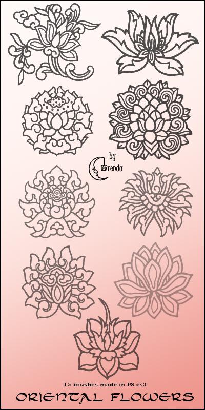 手绘莲花图案刷