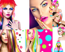彩色发型女子摄影高清图片