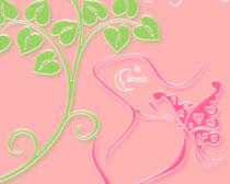 植物花纹蝴蝶笔刷素材