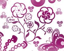 鲜花蝴蝶笔刷素材