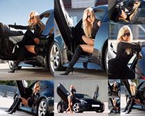 美女与跑车拍摄高清图片