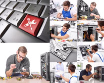 维修电脑的男人摄影高清图片
