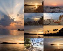 夕阳大海风景拍摄高清图片