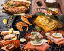 鱼肉烧烤摄影高清图片