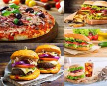 披萨与汉堡包摄影高清图片