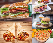 汉堡包卷肉早餐摄影高清图片