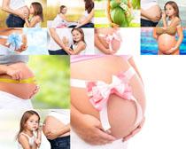 大肚子女人与小孩摄影高清图片