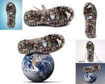 破鞋子与地球摄影高清图片