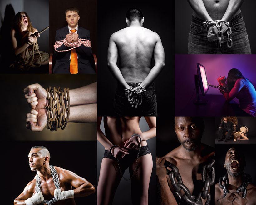 铁链镣铐锁人物摄影高清图片