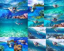 海底游泳的女人摄影高清图片