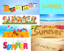 沙滩漂亮字母摄影高清图片