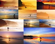 夕阳海边风光摄影高清图片