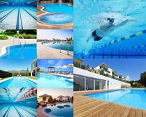 私人游泳池建筑摄影高清图片