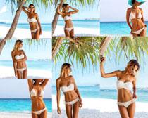 海滩比基尼模特美女摄影高清图片