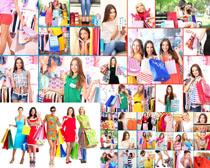 手提购物代的女子摄影高清图片