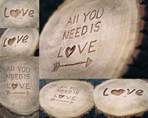 木头刻字摄影高清图片