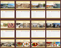 2017鸡年旅游美食日历设计矢量素材