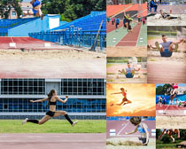 跳远的人物摄影高清图片
