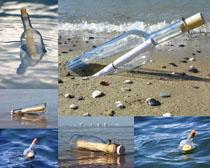 飘流瓶海边摄影高清图片