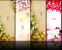 花儿背景展板设计PSD素材