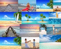 海边的风景与人物摄影高清图片