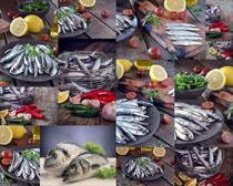 海鱼柠檬与辣椒摄影高清图片