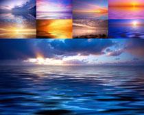 夕阳与大海风景摄影高清图片
