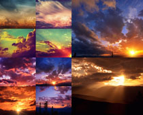 夕阳天空云朵摄影高清图片