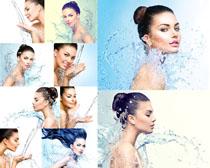 飞溅的水与美女摄影高清图片